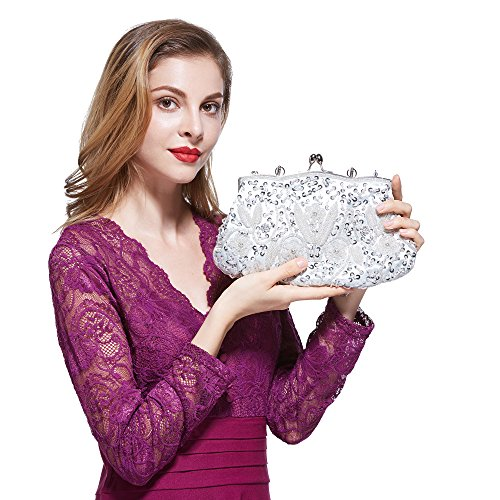 Floral Purse Evening (HOTER 2018 SPRING COLLECTION Antique Floral Seed/Bead/Sequin Soft Exquisite Seed Bead Sequined Leaf Clutch Handbag,Gift Ideas-Colors Various)