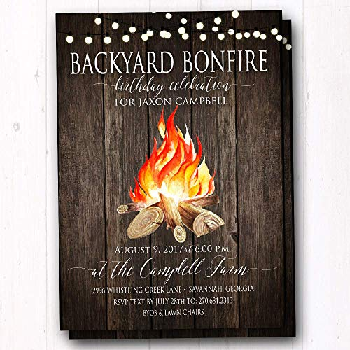 Backyard Bonfire Invitations - Set of 20 Invites w/Envelopes]()