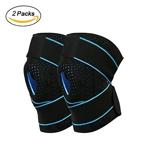 INKERSCOOP Knee Compression Fit Supports, One Pair Sports Knee Brace Support Breathable Knee Protector with Dual Side Stabilizers & Open Patella, Non-Slip Fits for Arthritis, Sport, Running by INKERSCOOP