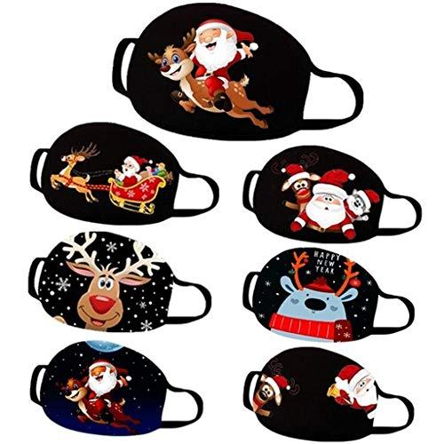 Reusable Balaclava Christmas Printed Facial Decorations Bandanas Lightweight Funny Face Madks for Women and Men BiuBuy (A)