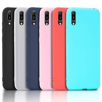 Wanxideng - 6X Funda Huawei Y6 2019, Carcasa en Silicona - [ Negro + Blanco Translúcido + Rojo+ Rosado+ Menta Verde + Azul Claro ]