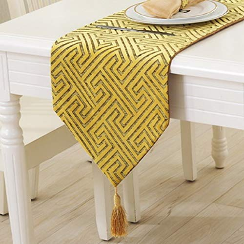 US-ROGEWIN Table Runner Gorgeous Vintage Refined Tassels Nylon Jacquard Cutwork Embroidered Tablecloth Home Decoration ()
