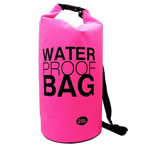 Langxun 20L Pink Waterproof Dry Bag,for Diving, Kayaking, Swimming, Boating, Fishing, Camping, Canoeing, Rafting, Snowboarding (PINK 20L)