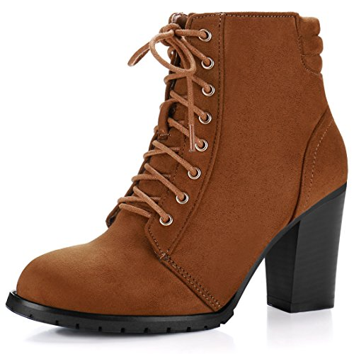 Bootie K Brown Ankle Chunky Inches Women's 1 2 Heel Lace Allegra 3 up ZOTx00a