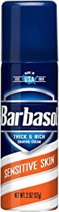 Barbasol Sensitive Skin Thick & Rich Shaving Cream for Men, 2 OZ (Travel Size - TSA Approved)