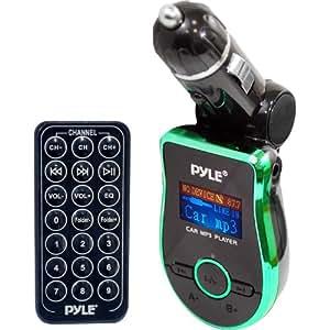 Pyle PMP3G2 - Reproductor de música y transmisor FM inalámbrico para coche, verde