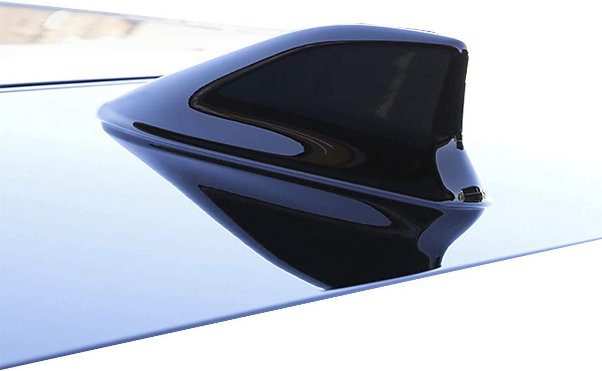 Pearlescent, Black Car Antenna Shark Fin Aerial AM FM Signal Car Radio Antenna with Adhesive ABS Varnish Paint Decoration