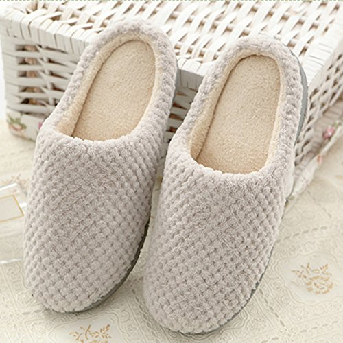 BELLOO Winter Warm Fleece Lined House Slippers Memory Foam Comfy Slip-On Mules Shoes apricot r91w5MeF18