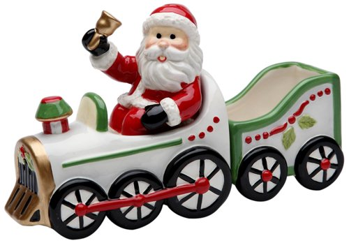 Train Set Santa - Cosmos Gifts 10664 Santa in Train Salt and Pepper Set with Sugar Pack Holder, 6-1/4-Inch