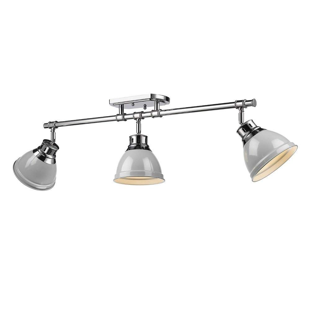 Golden Lighting 3602-3SF CH-GY Three Track Light Gold/Gray