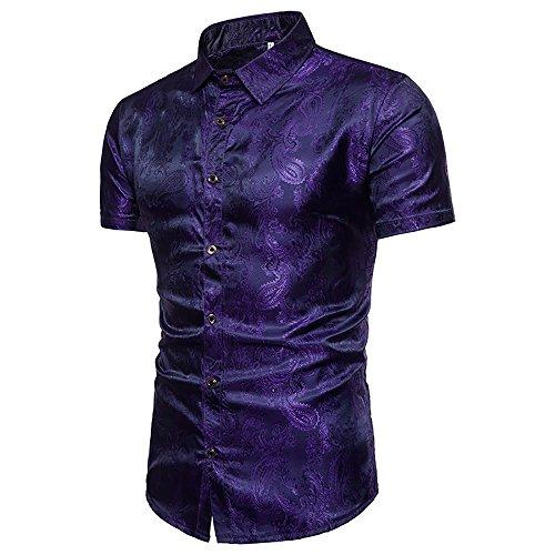 - WULFUL Men's Stylish Slim fit Short Sleeve Shirts Shiny Satin Silk Dance Prom Party Dress Shirt