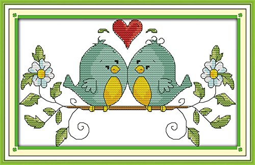 eGoodn Cross Stitch Stamped Kit Pre-Printed Pattern Love Bir