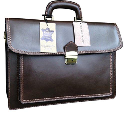Aktentasche/Messengertasche/Laptoptasche, Handarbeit, italienisch, Designerstück, Leder, 40,6cm, dunkelbraun