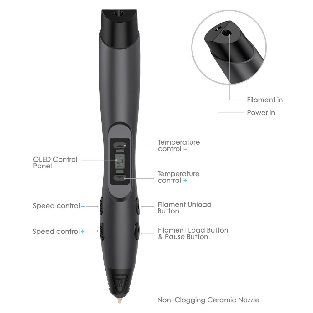 Aerb Printing Intelligent 3D Pen with LCD Screen Black 6.4*10.2*20