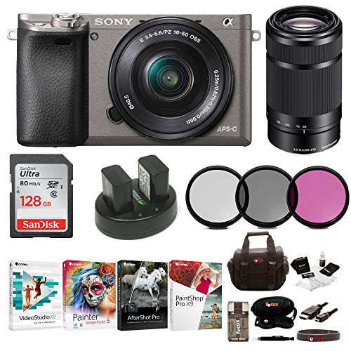 Sony Alpha a6000 Camera w/ 16-50mm & 55-210mm Lens & Imaging Software (Graphite)