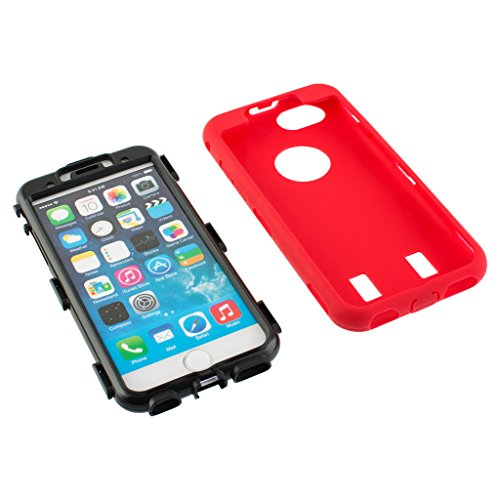 Nice Style Apple iphone 6s Case cover Durable Shockproof Armor Case 3in1 Combo Rigid PC + Soft Silicone Protective Case (Red)