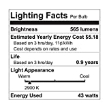 GE Lighting 67770 Reveal 43-Watt, 565-Lumen A19 Light Bulb with Medium Base, 4-Pack