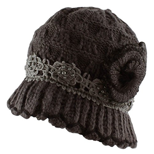 e Knit Warm Winter Bucket Hat with Lace and Flower - Charcoal (Basket Weave Charcoal)