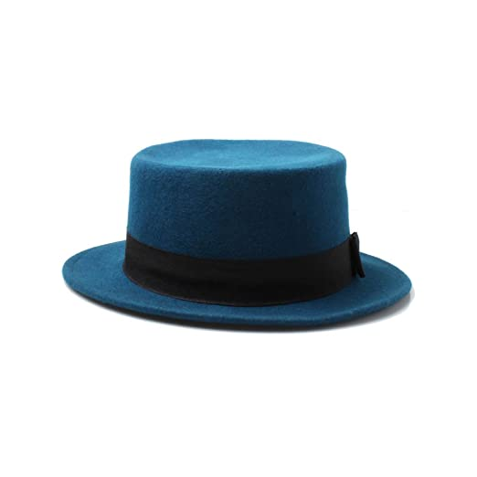 f4db2133377d9 Unisex Teal Blue Wool Boater Hat at Amazon Women's Clothing store: