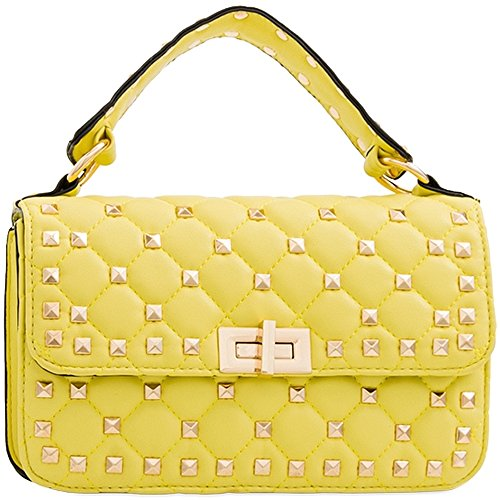 Cross Quilted Women's Black Body KT2175 Clutch Purse Ladies Messenger Studded Handbag Bag taqwWp