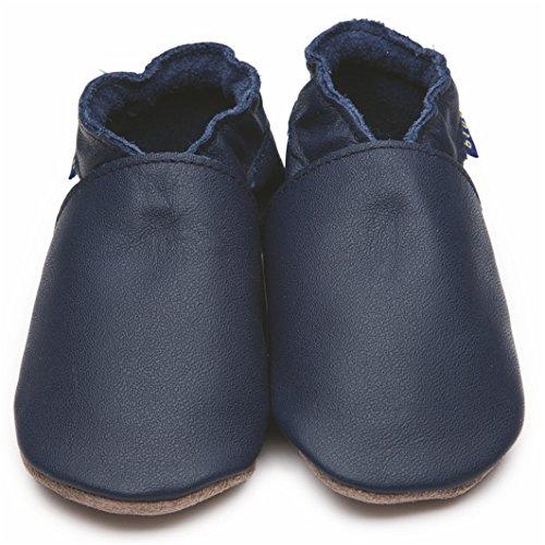 Inch Blue Mädchen/Jungen Schuhe für den Kinderwagen aus luxuriösem Leder - Weiche Sohle - Einfarbig Dunkelblau