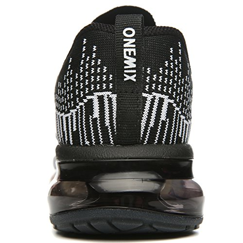 Onemix Mens Cuscino Daria Di Sport Outdoor Scarpe Da Corsa Leggere Scarpe Da Tennis Casuali Nero / Bianco
