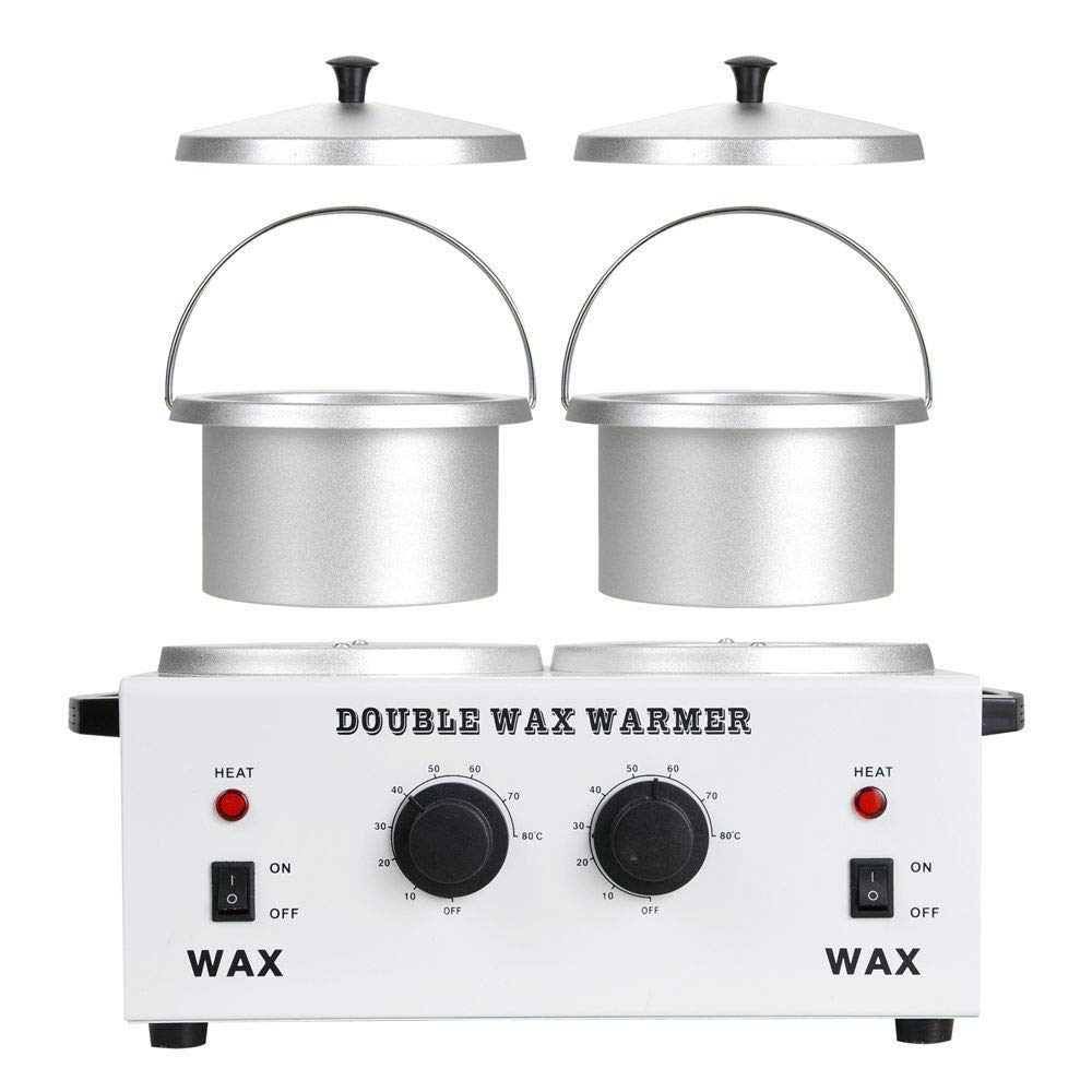 "Double 4.3"" Aluminum Pot Melting Wax Warmer Electric Hot Wax Heater Machine For Facial Total Body Hair Removal"