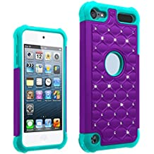 AutumnFall® Rubber Hybrid Hard Silicone Shockproof Case Cover for Touch 6 (Purple)