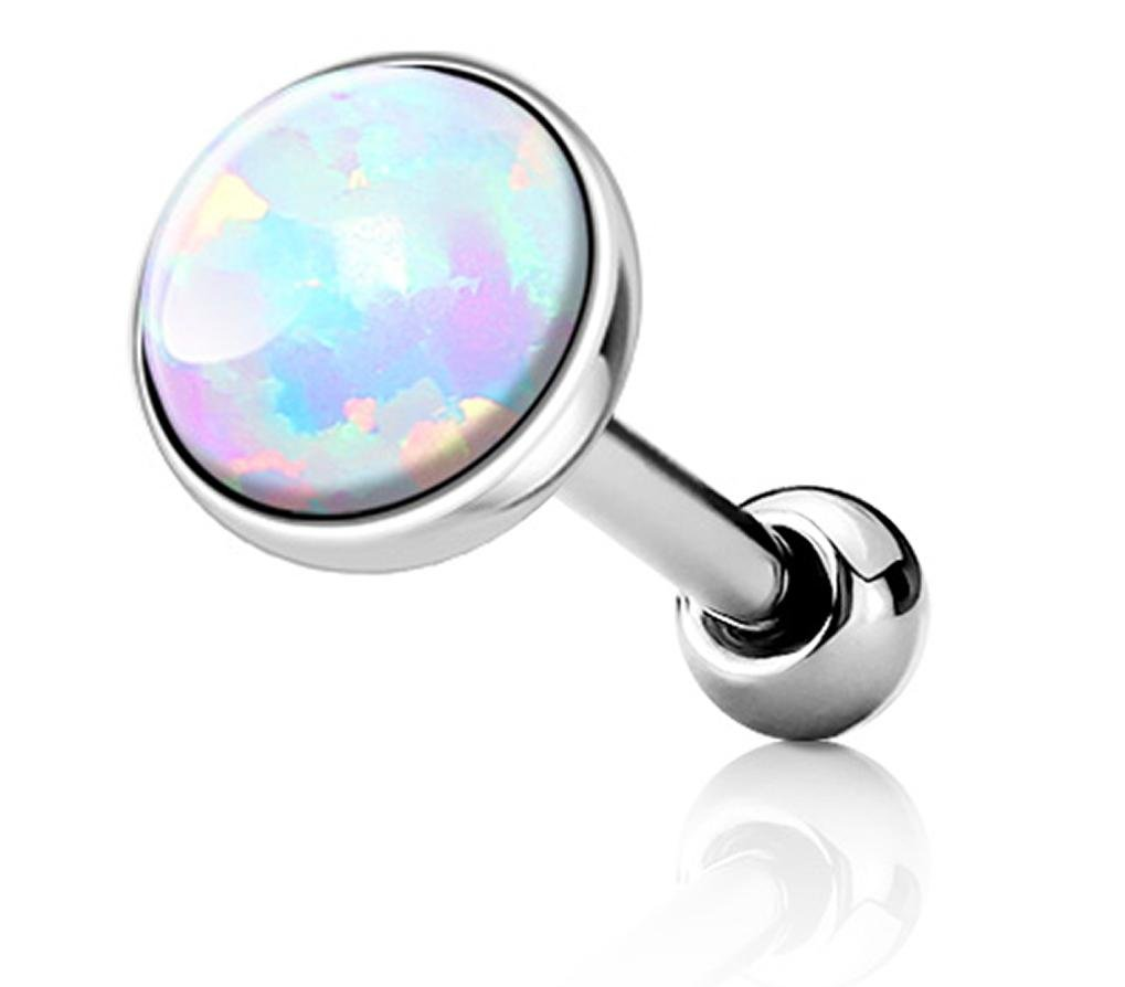 Forbidden Body Jewelry 16g Surgical Steel Synthetic White Opal Cartilage Stud, 5mm Opalite