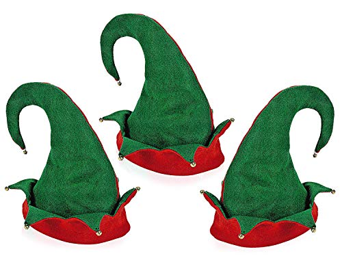 Felt Elf Hat, Red/Green, One Size