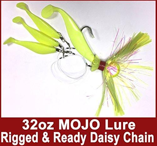 ブルー水キャンディ – Rock Fishキャンディ32 oz Cannonball ( Chartreuse ) Mojo Striper Daisyチェーンルアー、ロードされて22.86 CM Swimbait Shadボディ& 3 x 15.24 CM Trailing Shads – Rigged & Ready ( Chartreuse )   B073ZKYDZC