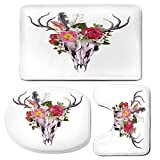 3 Piece Bath Mat Rug Set,Antler-Decor,Bathroom Non-Slip Floor Mat,Deer-Animal-Skull-with-Flowers-and-Feathers-Vintage-Style-Watercolor-Artwork-Decorative,Pedestal Rug + Lid Toilet Cover + Bath Mat,Mul