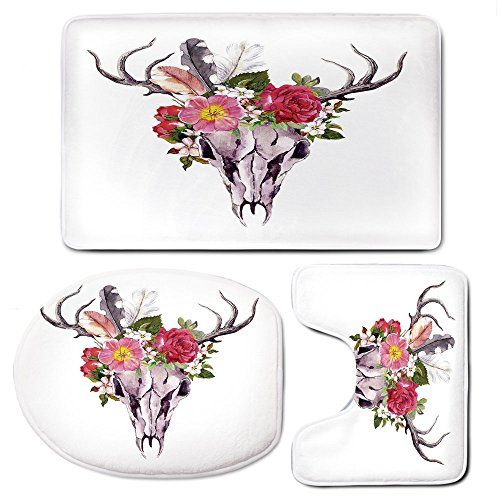 3 Piece Bath Mat Rug Set,Antler-Decor,Bathroom Non-Slip Floor Mat,Deer-Animal-Skull-with-Flowers-and-Feathers-Vintage-Style-Watercolor-Artwork-Decorative,Pedestal Rug + Lid Toilet Cover + Bath Mat,Mul by iPrint
