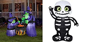 Gemmy 6'H x 4'W Airblown Halloween Inflatable Double Bubble Witches with Cauldron with Airblown Inflatable-Skeleton by Gemmy Industries Bundle Set 3