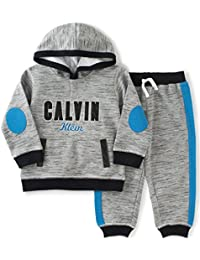Calvin Klein Baby Boys' Hooded Pullover with Pants Set