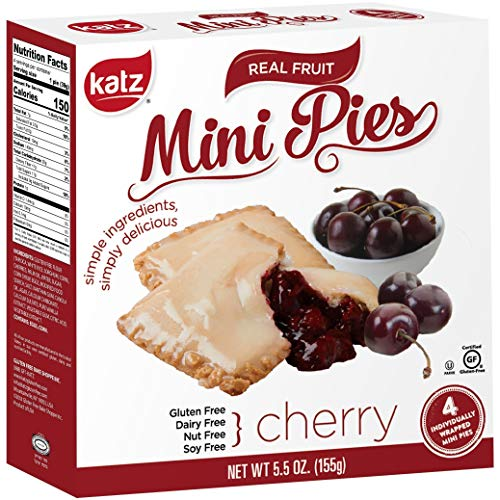 Katz Gluten Free Cherry Mini Pies | Dairy, Nut, Soy and Gluten Free | Kosher (1 Pack of 4 Mini Pies, 5.5 Ounce)