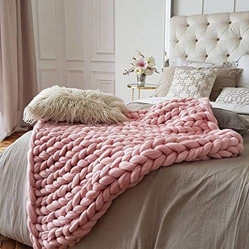 Light Pink Super Chunky Knit Blanket,Arm Knit Blanket,Merino Wool Blanket 59x79in Super Chunky Blanket,Handmade Blanket Bed Couch Sofa Decor by Clisil (Image #2)
