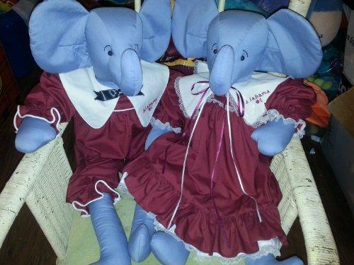 "Handmade Alabama Crimson Tide Plush Mascots 30"" Ooak Elephan"
