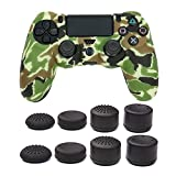 Silicone Cover Skin case for PS4 /SLIM /PRO controller, COCOTOP Video Game Skins Accessories Protector for PlayStation 4 Controller ( camouflage controller skin x 1 +Thumb Grips x 8) (Light Green)