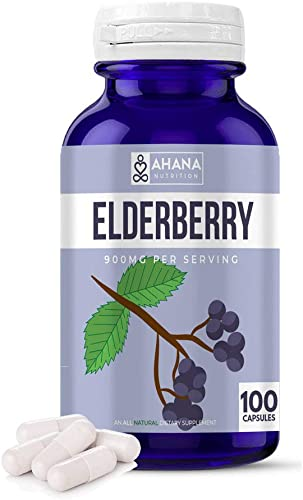 Elderberry Extract by Ahana Nutrition – Natural Elderberry Capsule to Help with Immune Support, Can Help Support The Respiratory System and May Provide a Mood Boost* 900mg 100 ct