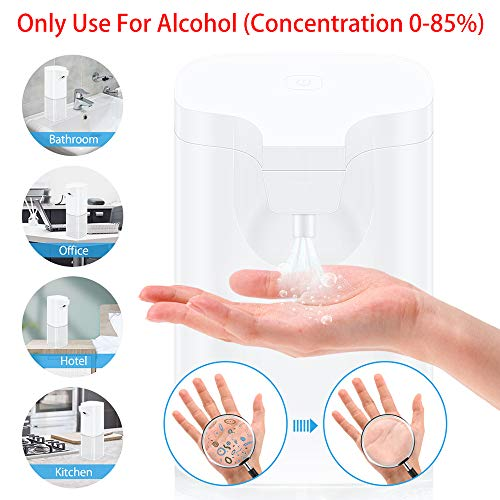 VEEAPE Alcohol Dispenser Automatic Hand Sanitizer Alcohol Spray, 350ml Non-Contact Sprayer Bottles Infrared Induction Touchless Soap Dispenser Auto Hands Free Liquid Pump
