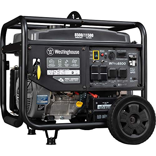 Westinghouse WPro8500 Super Duty Industrial Portable Generator – 8500 Rated Watts & 11500 Peak Watts – Gas Powered – Electric & Remote Start – OSHA & CARB Compliant