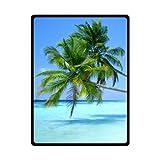 WECE Tropical Hawaii Beach Palm Tree Summer Sunshine Fleece Blanket and Throws, Travel Blankets 58x80 (Large)
