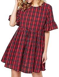 Women's Summer Casual 3/4 Sleeve Tunic Dress Plaid Checked Mini Dress