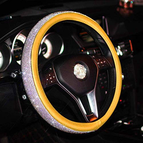 Lufei Luxury Car Steering Wheel Cover, Crystal Bling Bling Rhinestones Non-Slip Women Steering Wheel Protector Available 15