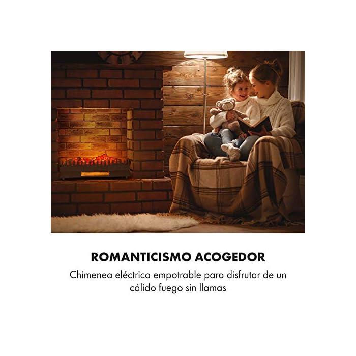 51oRiOg1n6L Romanticismo acogedor: chimenea eléctrica para disfrutar de un cálido fuego sin llamas. Calor agradable: función de calefacción opcional de 1000 W o 2000 W. Limpia: sin hollín ni cenizas, limpieza sencilla. Romanticismo junto al fuego en cualquier época del año: la función de imitación de llamas se activa por separado de la calefacción. Manejo sencillo: 2 niveles de potencia, iluminación independiente y termostato mecánico Chimenea decorativa con iluminación y función de calefacción opcional. Troncos iluminados sin cenizas ni hollín. Función de calefacción opcional de 1000 W o 2000 W
