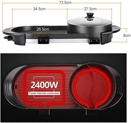 2000W Multifonctionnel sans fum/ée BBQ Hot Pot int/égr/é Cuisine Pot Grande capacit/é Famille f/ête ustensiles de Cuisine SEAAN Hot Pot /électrique et Barbecue