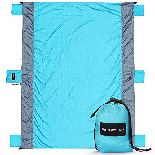 SHINE HAI Outdoor Beach Blanket, Lightweight Durable Nylon Sand Free Quick Drying Picnic Blanket, Large Picnic Blanket 7.5' x 6' Water Resistant, Portable Beach Mat with 4 Anchor Pockets