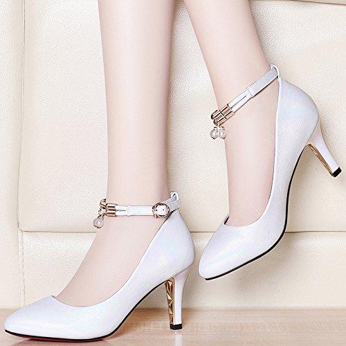 Jqdyl High Heels High-Stouml;ckelschuhe Damenschuhe New Spring Wild Shallow Mund fein mit spitzen Sommer Sandalen mit  37|B beige