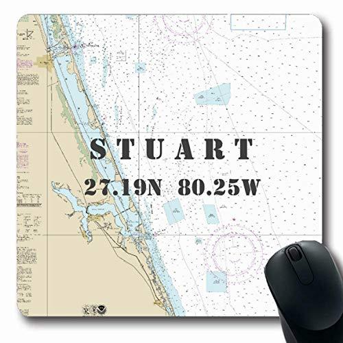Ahawoso Mousepads Vintage Nautical Chart Latitude Longitude Stuart Florida Oblong Shape 7.9 x 9.5 Inches Oblong Gaming Mouse Pad Non-Slip Rubber Mat
